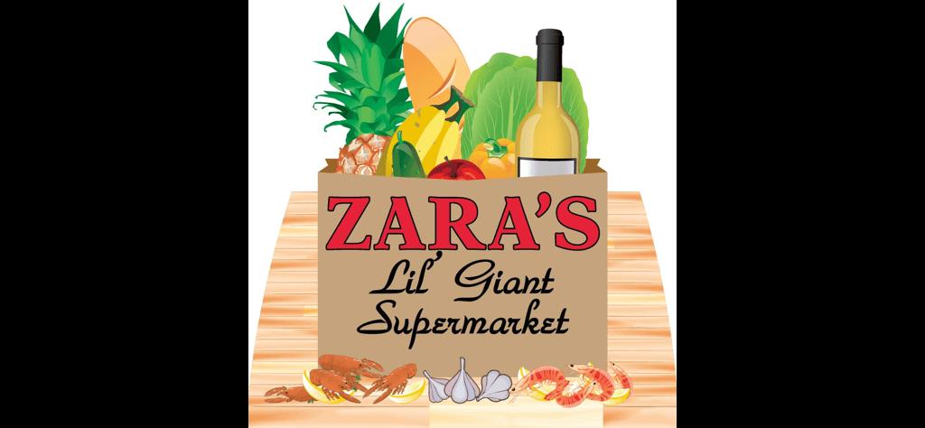 A theme logo of Zara's Lil' Giant Supermarket & Po-boy